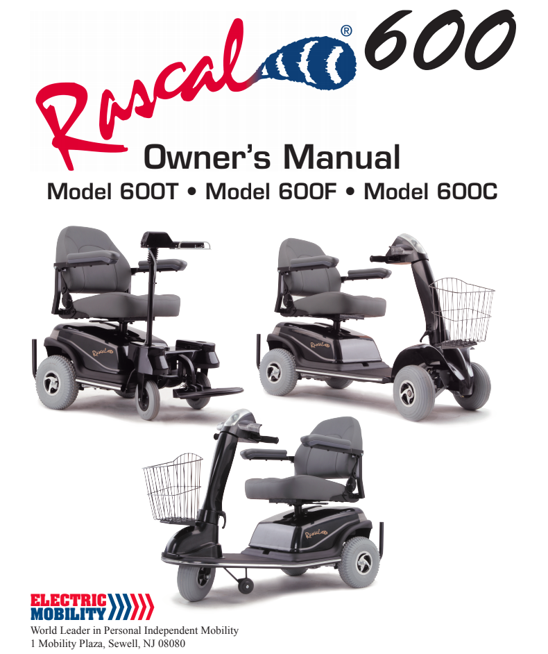 Rascal 600T 600F 600C Owner's Manual