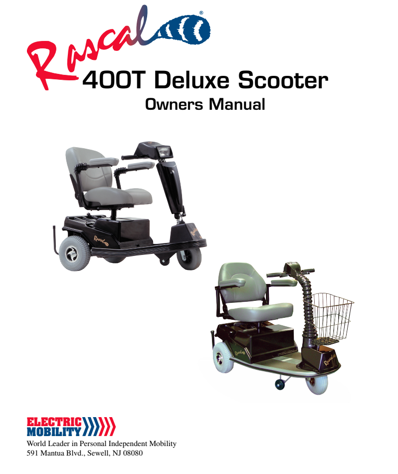 Rascal 400T Deluxe Scooter Owner's Manual