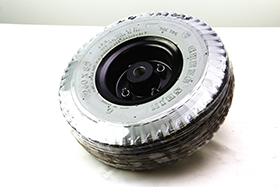 Drive Wheel Assembly 3.00-4 Foam Filled 4/05, Ribbed